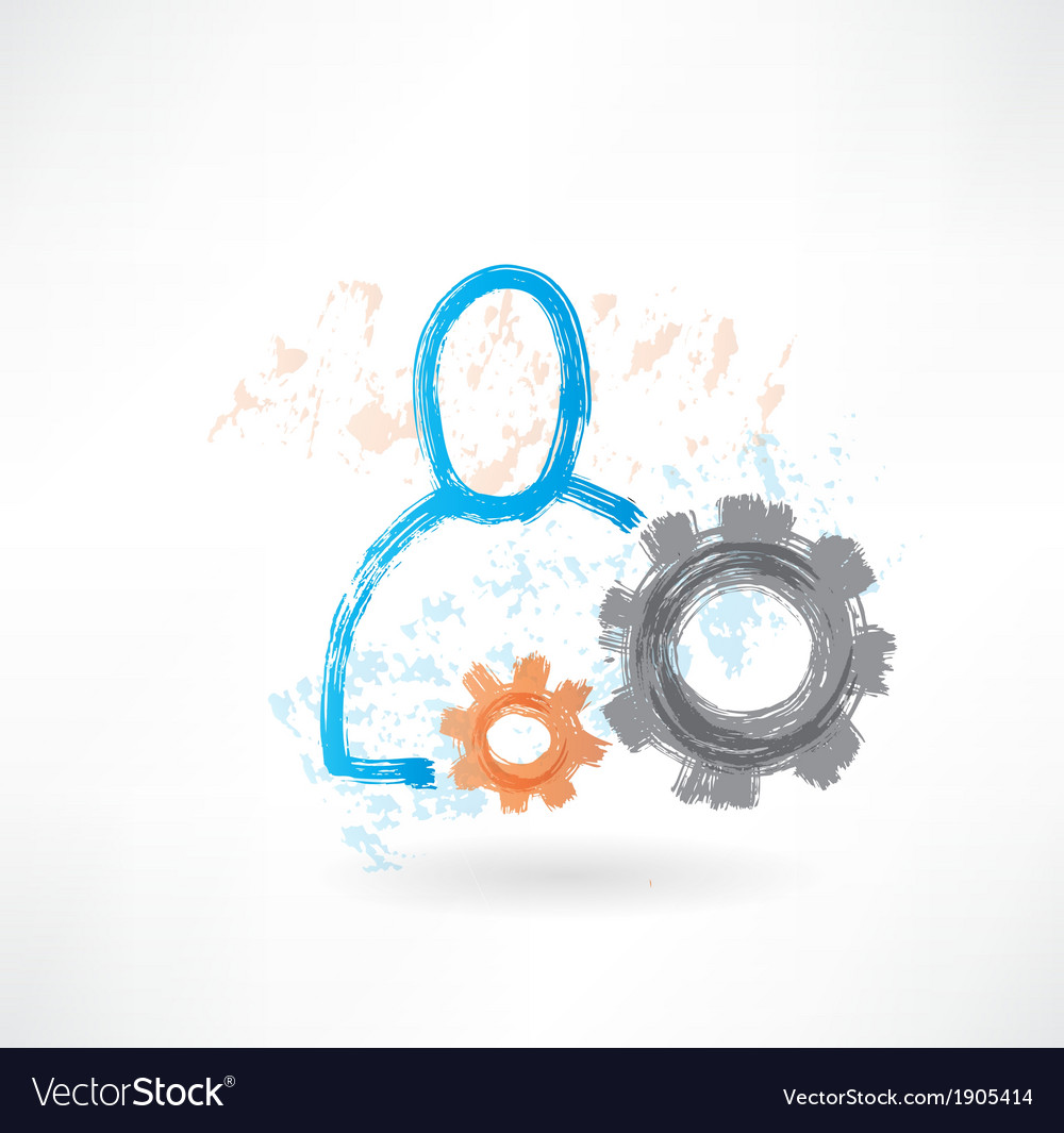 Person with mechanism grunge icon vector | Price: 1 Credit (USD $1)