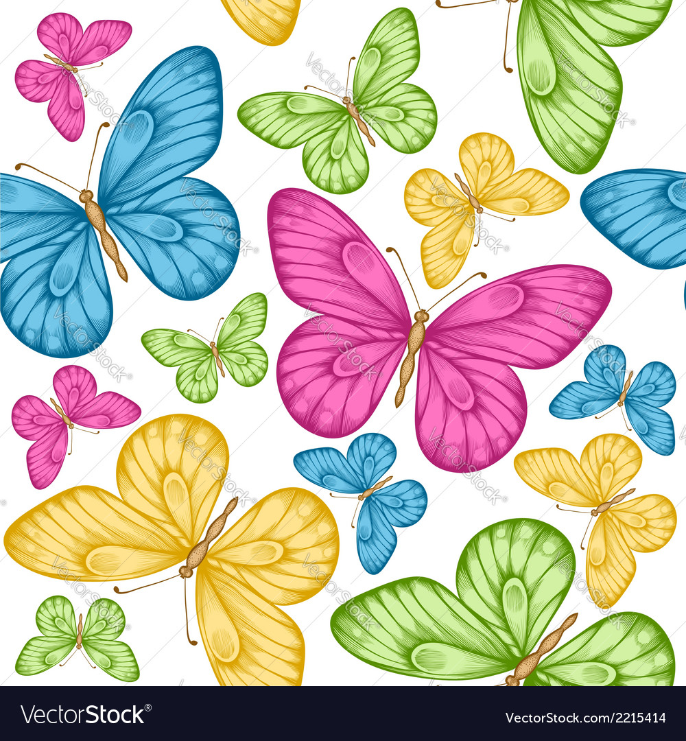 Seamless background bright colorful butterflie vector | Price: 1 Credit (USD $1)