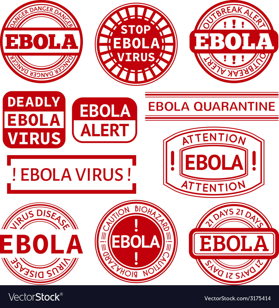 Set of red stamp with ebola concept text on white vector | Price: 1 Credit (USD $1)