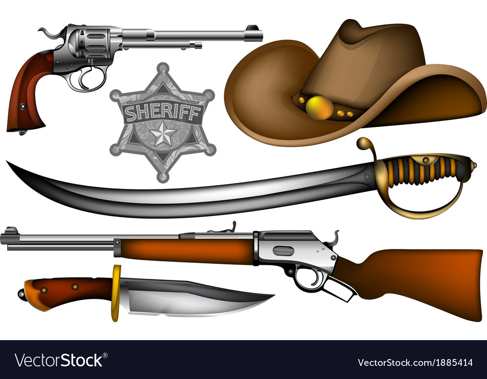 Set of sheriff weapons and accessories vector | Price: 3 Credit (USD $3)