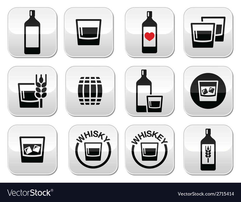Whisky or whiskey alcohol buttons set vector | Price: 1 Credit (USD $1)