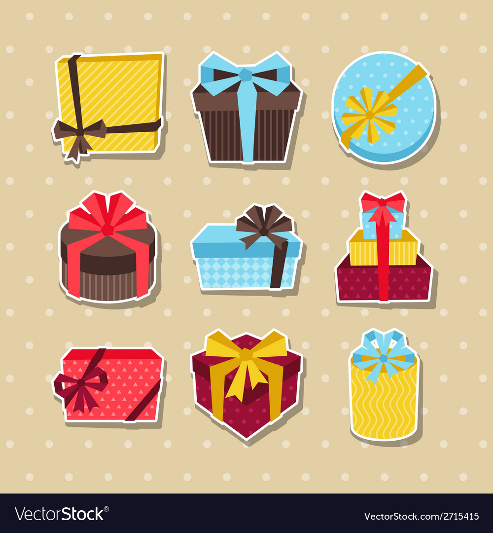 Celebration sticker icon set of colorful gift vector | Price: 1 Credit (USD $1)
