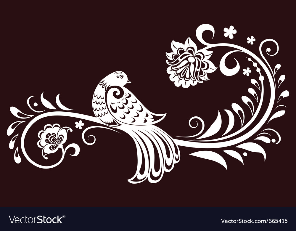 Decorative branch with a bird decorative leaves vector | Price: 1 Credit (USD $1)