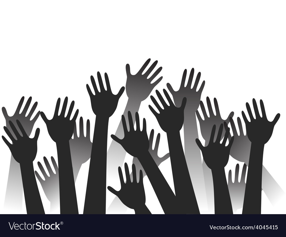 Hands raised background vector | Price: 1 Credit (USD $1)