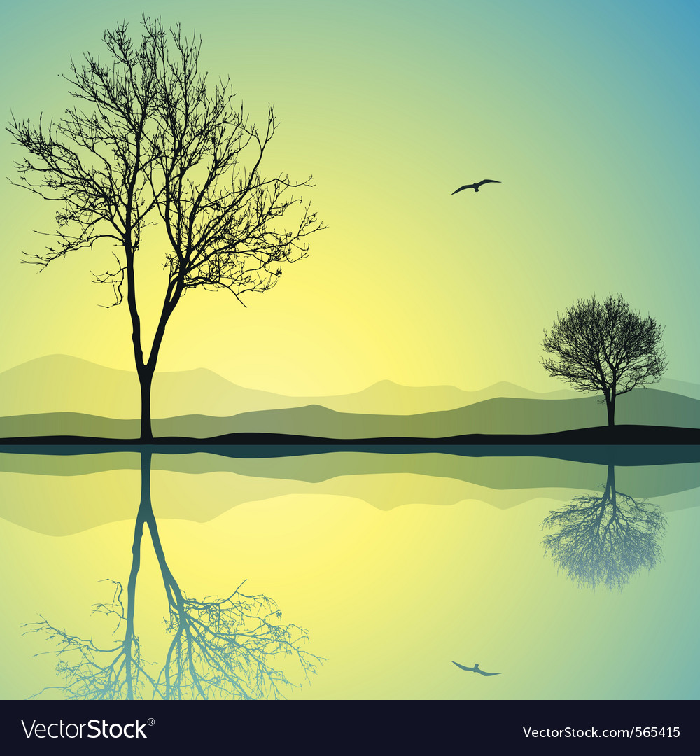 Lake landscape vector | Price: 1 Credit (USD $1)