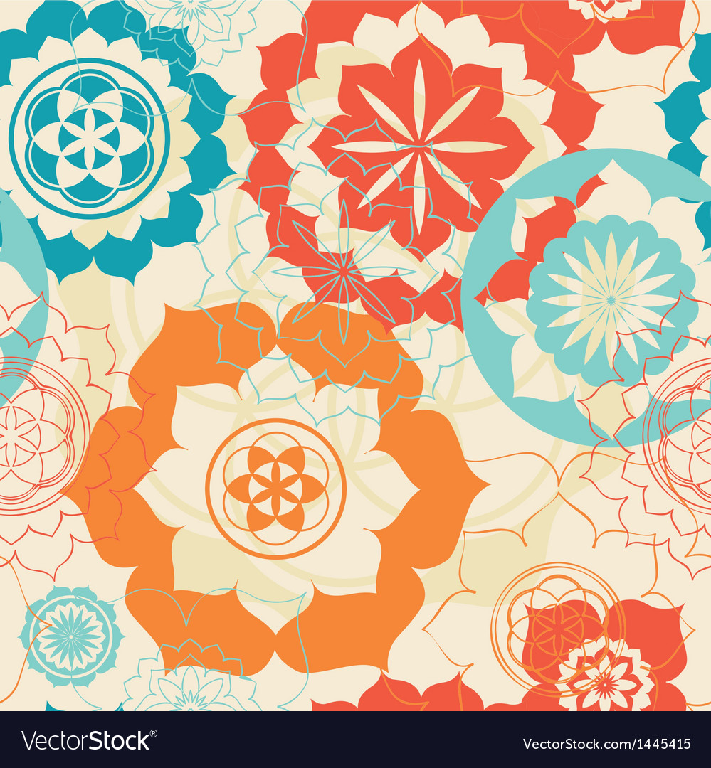 Lotus symbols seamless background vector | Price: 1 Credit (USD $1)