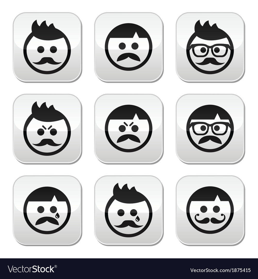 Man with moustache or mustache avatar butt vector | Price: 1 Credit (USD $1)