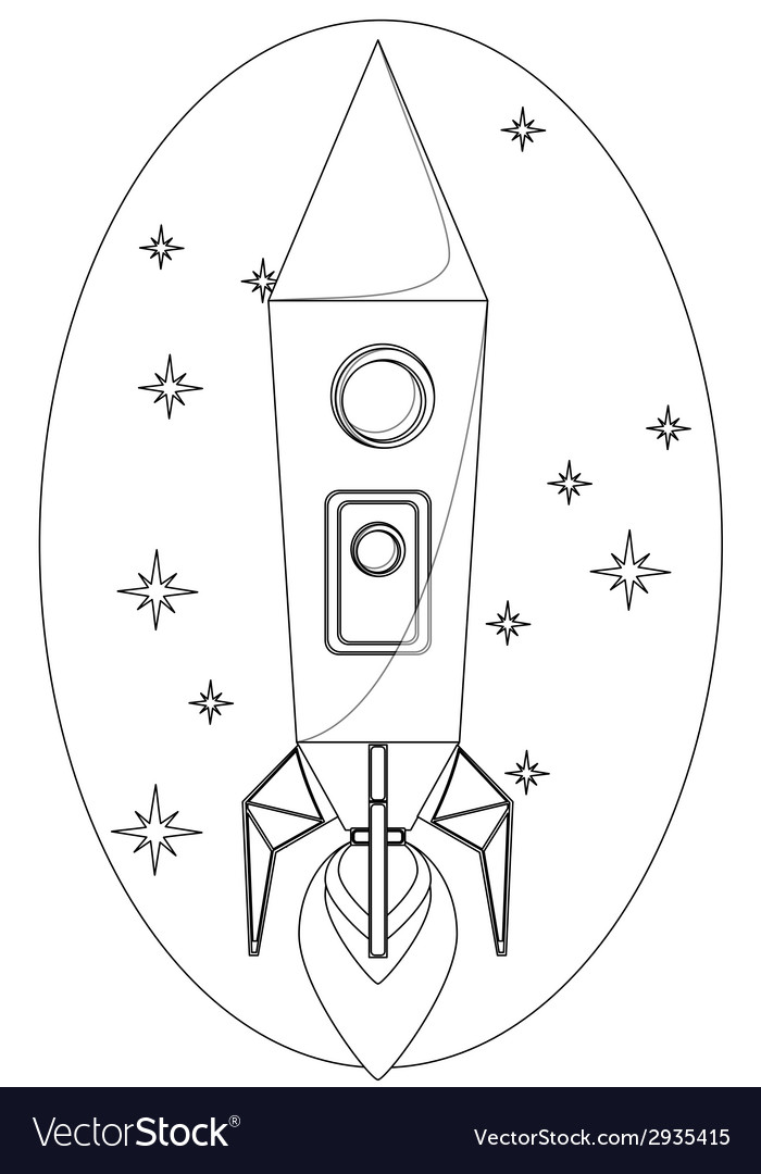 Rocket flying in the space among a stars contour vector | Price: 1 Credit (USD $1)