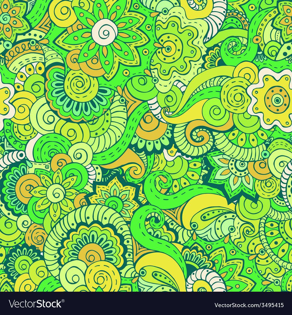 Seamless ethnic floral doodle pattern in vector | Price: 1 Credit (USD $1)