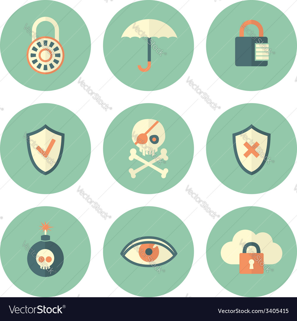 Set of circle security icons vector | Price: 1 Credit (USD $1)