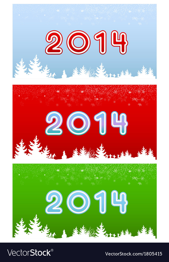 Set of images of digits in 2014 on three different vector | Price: 1 Credit (USD $1)