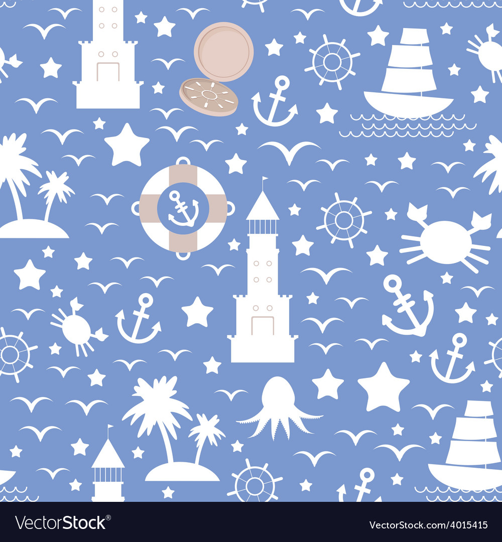 Set white sea icon on blue background seamless vector | Price: 1 Credit (USD $1)