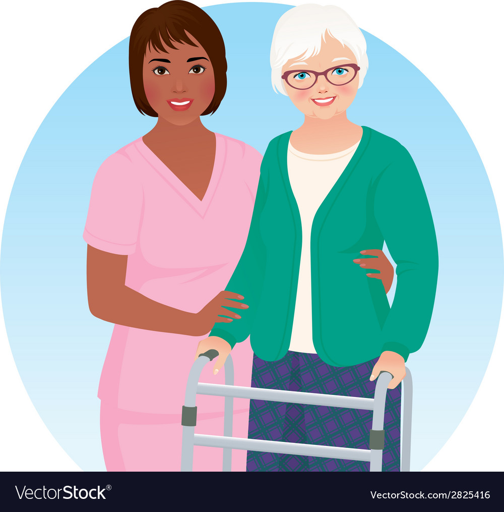 African american nurse and her patient vector | Price: 1 Credit (USD $1)
