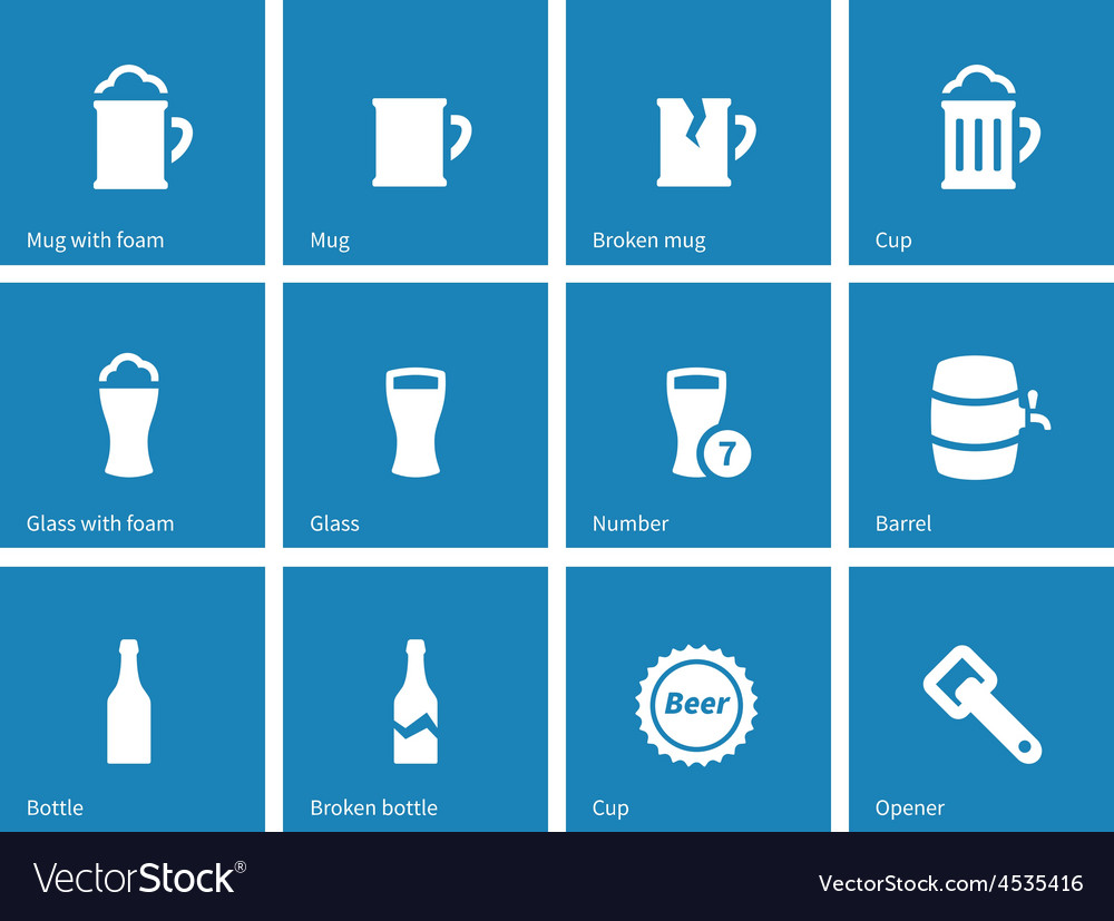 Beer and alcohol glasses icons on blue background vector | Price: 1 Credit (USD $1)
