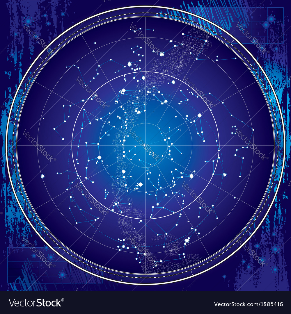 Celestial map of the night sky vector