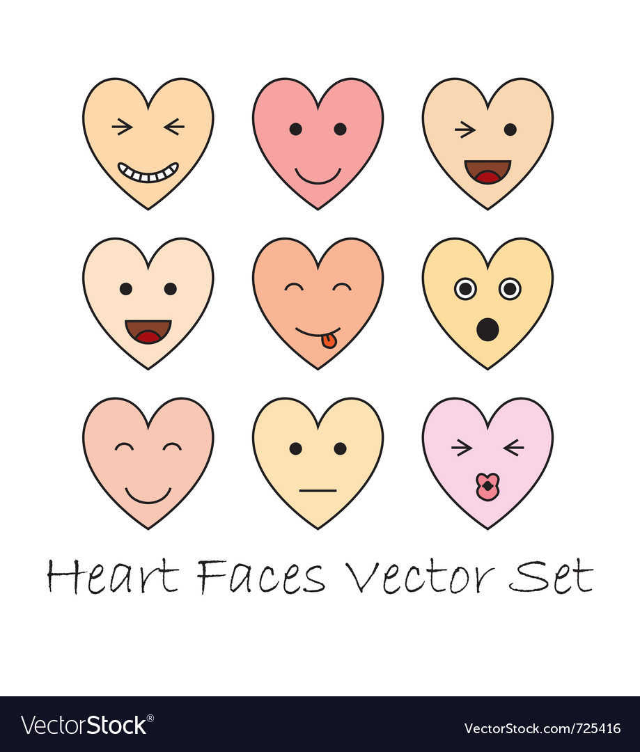 Emotional heart faces vector | Price: 1 Credit (USD $1)
