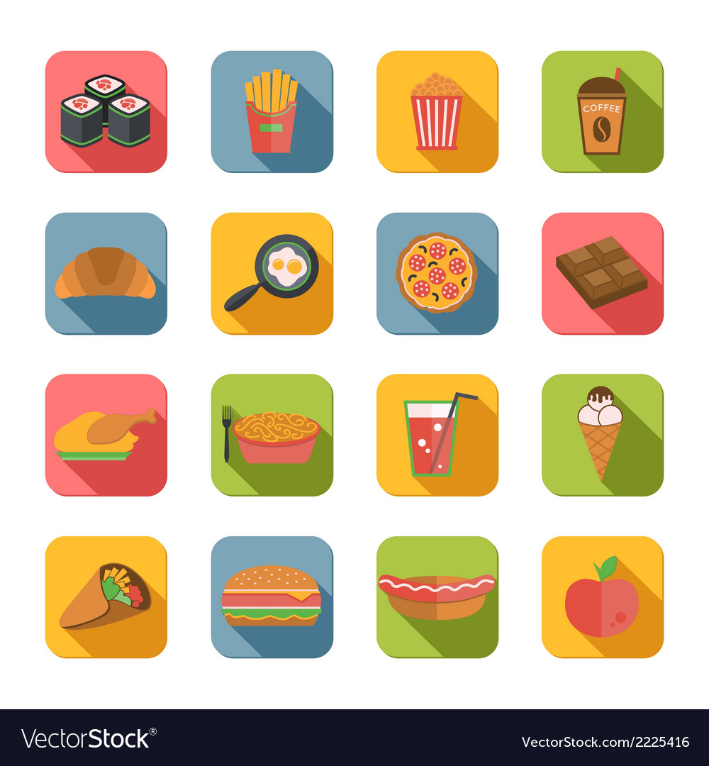Fast food icons flat vector | Price: 1 Credit (USD $1)