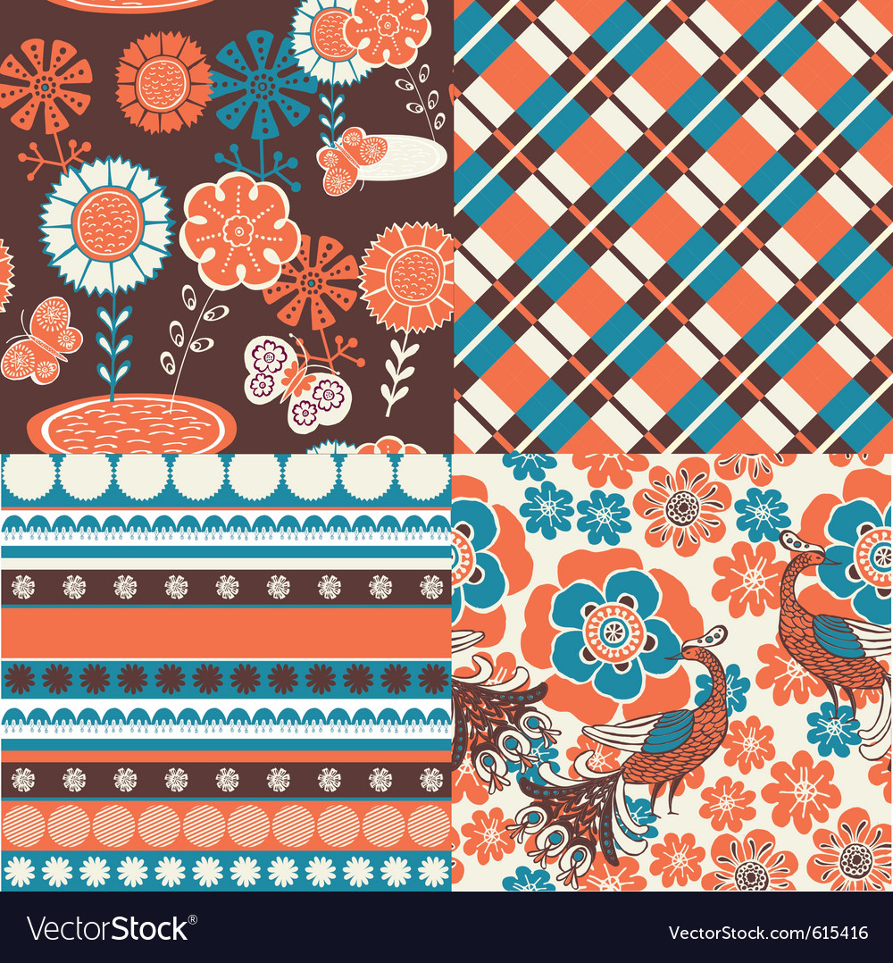 Floral repeat pattern vector | Price: 1 Credit (USD $1)