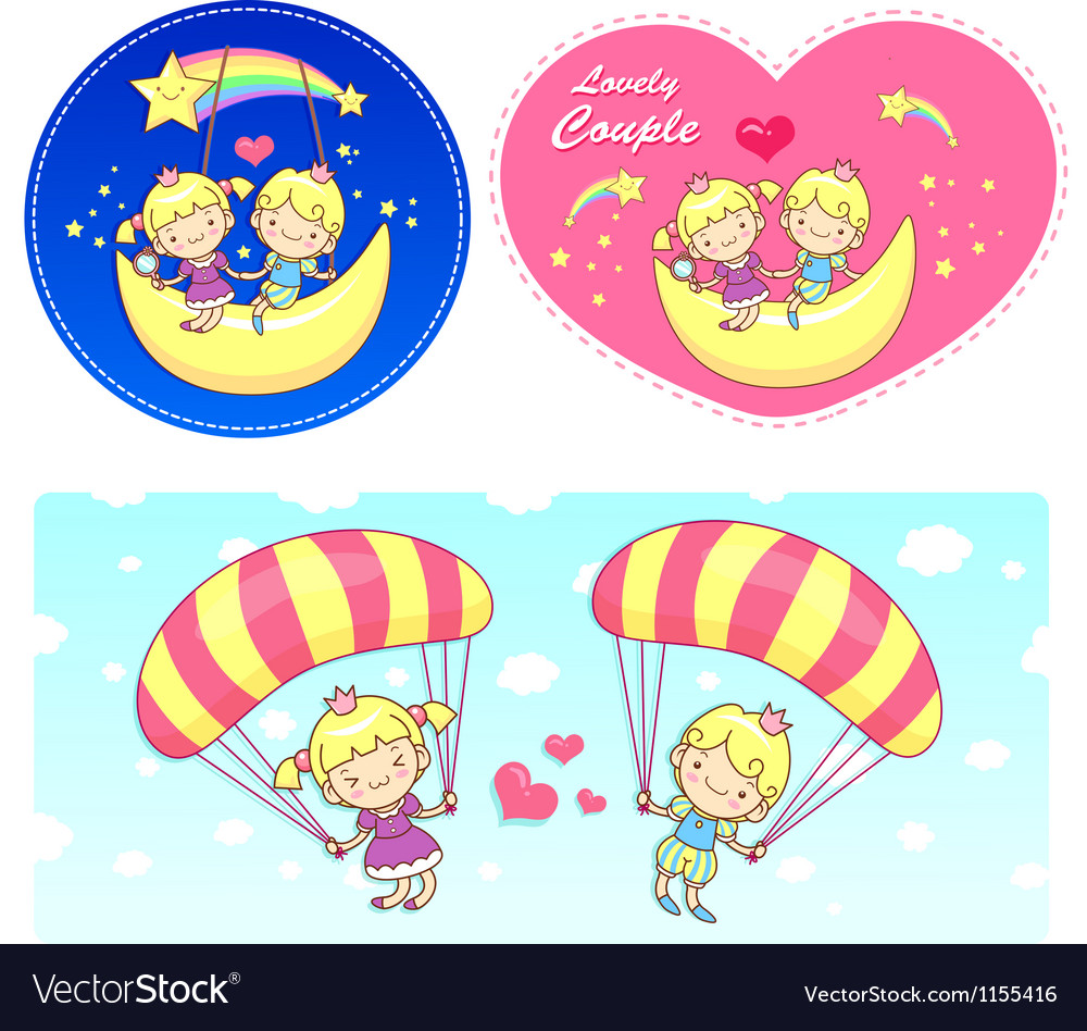 The fun a balloon and moon on girls and boys vector | Price: 1 Credit (USD $1)