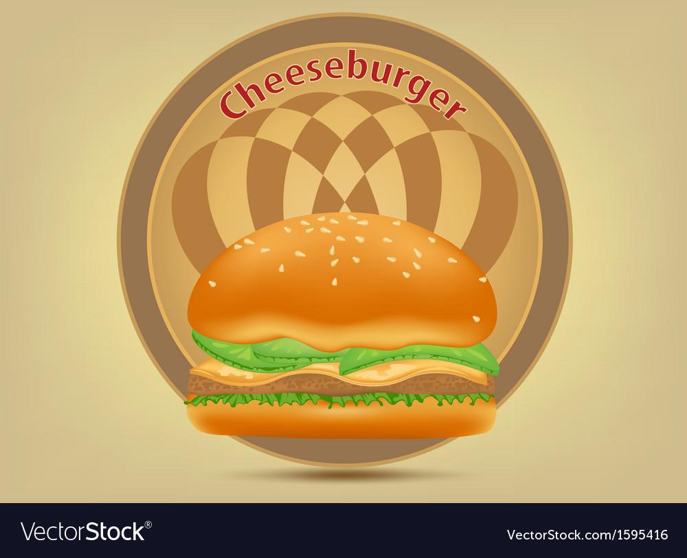 Hamburger fast food label vector | Price: 1 Credit (USD $1)