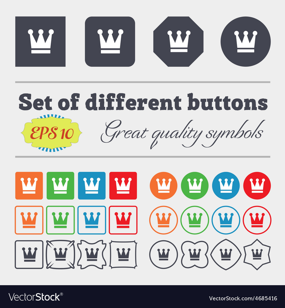 King crown icon sign big set of colorful diverse vector | Price: 1 Credit (USD $1)