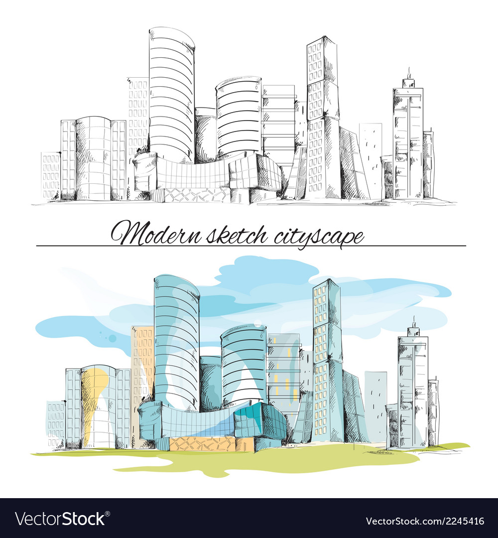 Modern sketch buildings cityscape vector | Price: 1 Credit (USD $1)