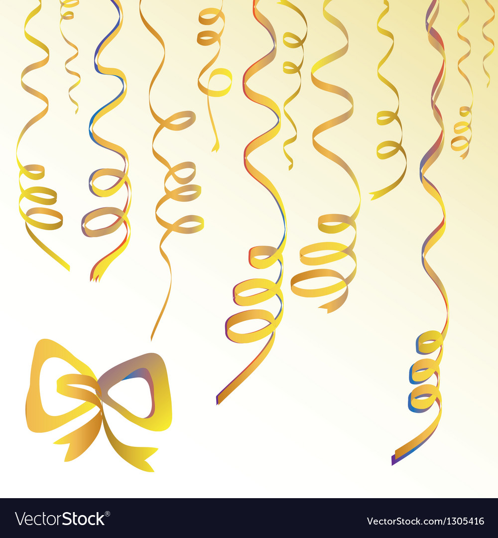 Party background with gold streamers vector | Price: 1 Credit (USD $1)
