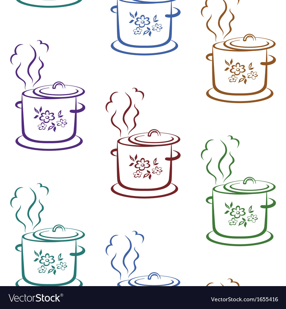 Seamless background kitchen pan vector | Price: 1 Credit (USD $1)