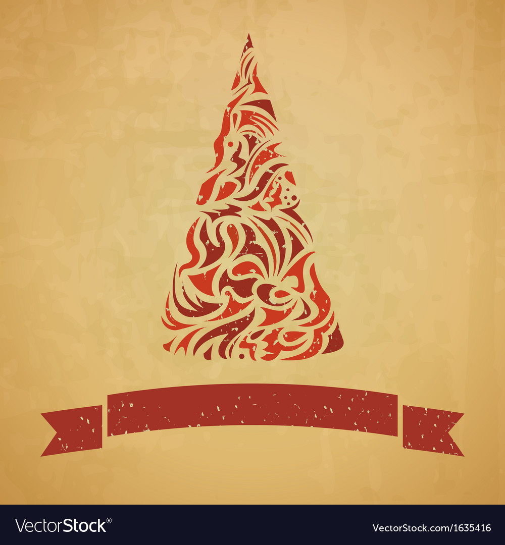 Template of christmas card with a fir tree vector | Price: 1 Credit (USD $1)
