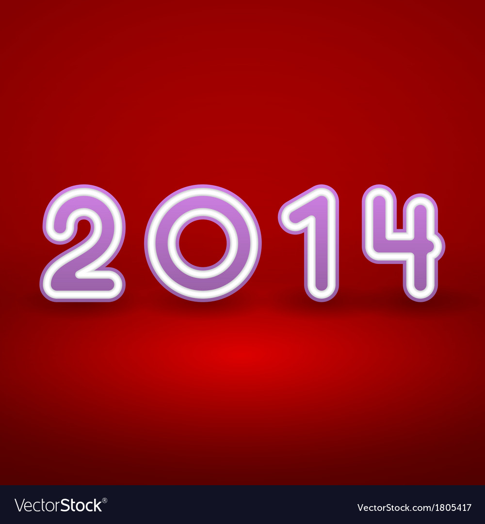 2014 new year image on red background with white vector | Price: 1 Credit (USD $1)