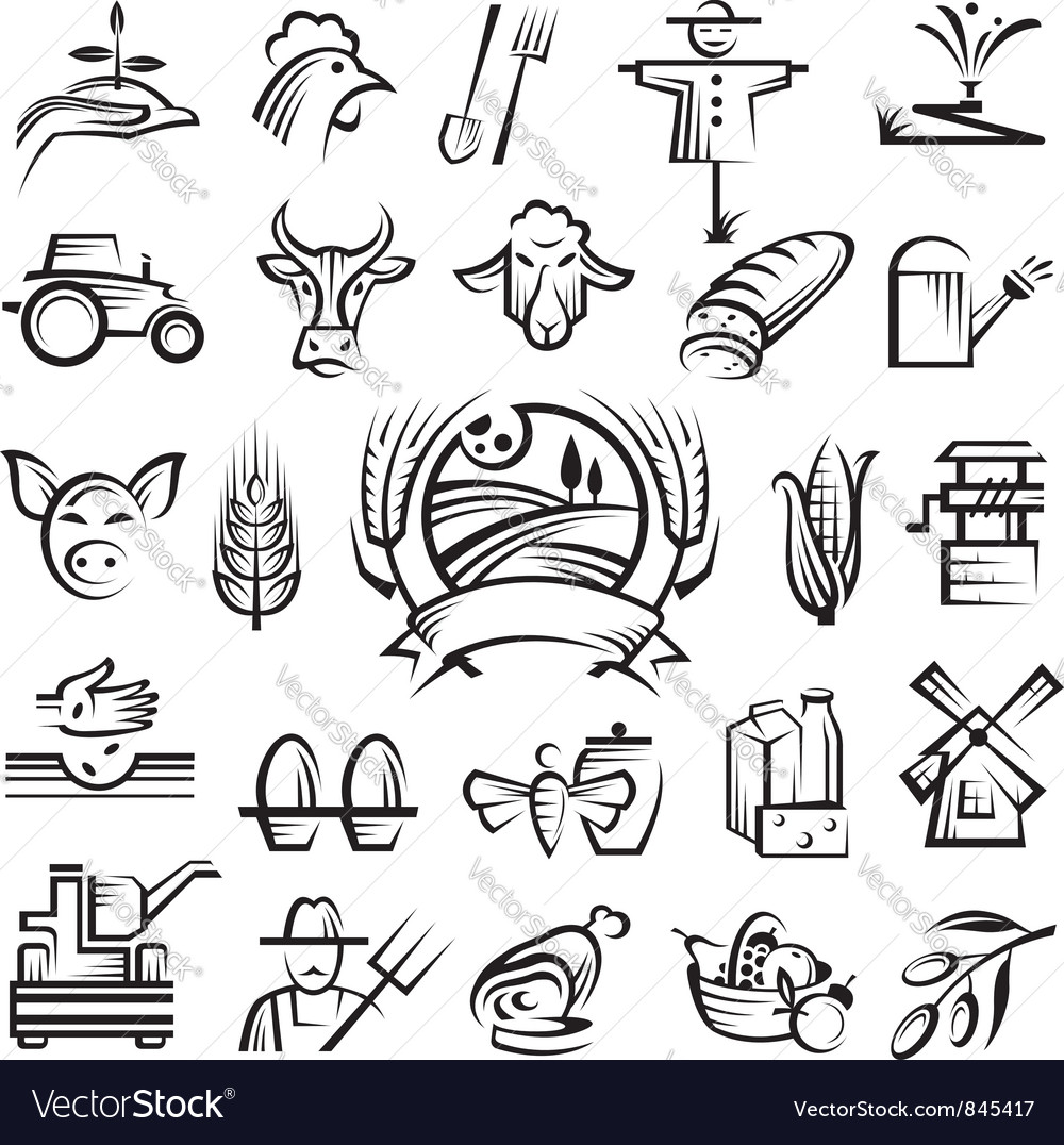 Agriculture and farming icons vector | Price: 1 Credit (USD $1)