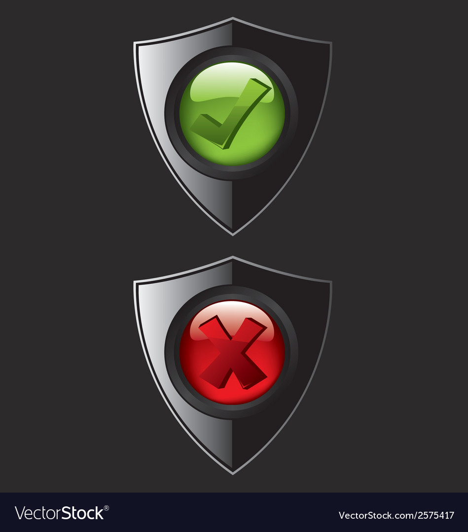 Black shield check mark icons vector | Price: 1 Credit (USD $1)