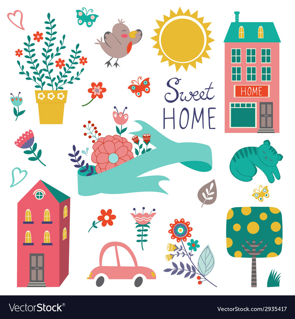 Cute home sweet home collection vector | Price: 1 Credit (USD $1)