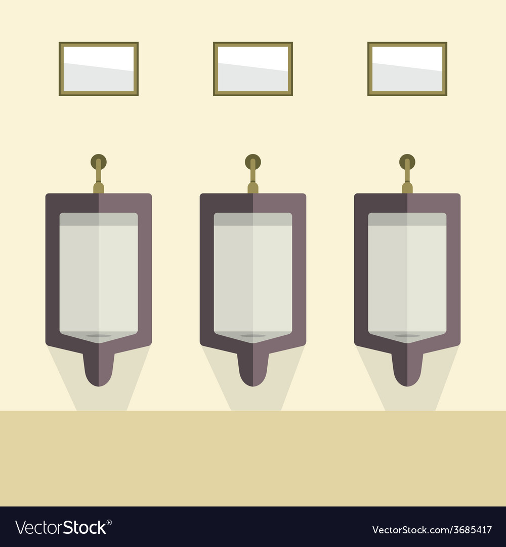 Flat design mens urinal row vector | Price: 1 Credit (USD $1)