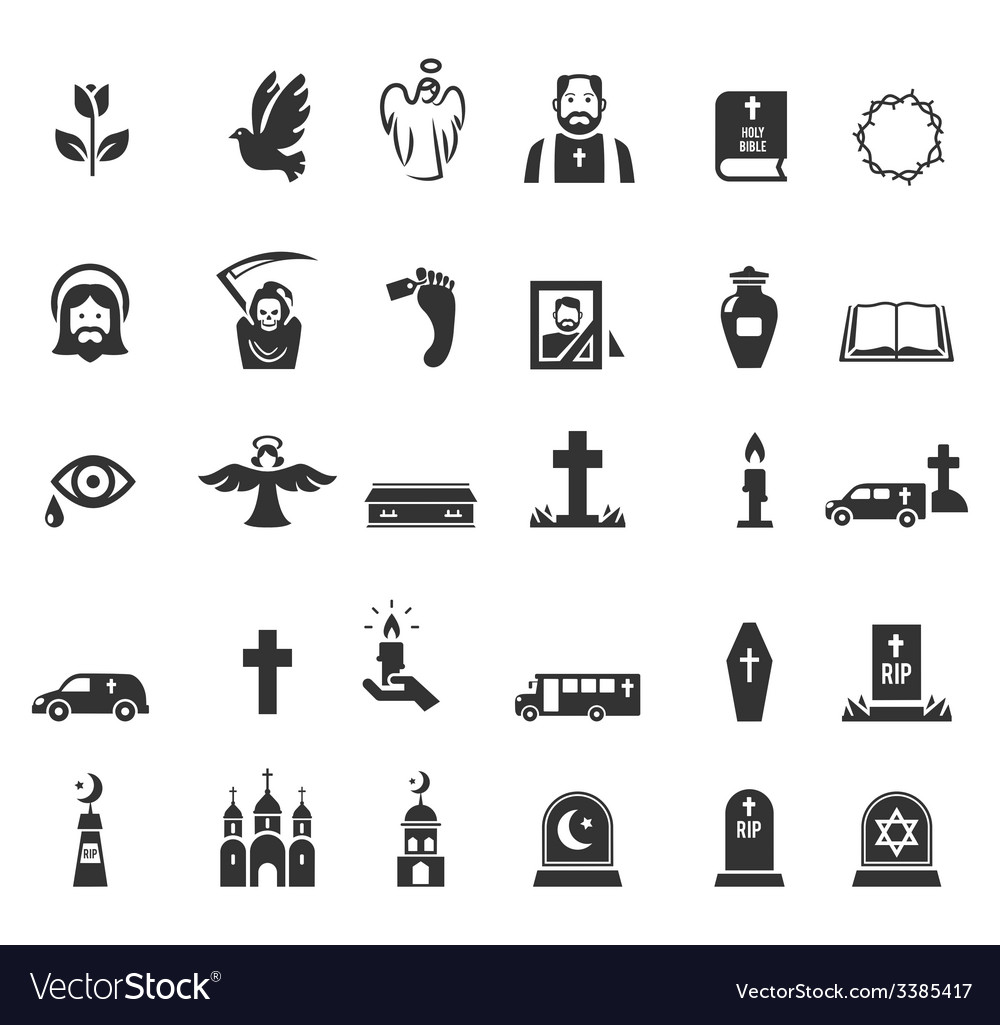 Funeral icons vector | Price: 1 Credit (USD $1)