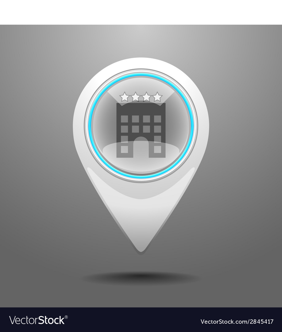 Glossy hotel icon vector | Price: 1 Credit (USD $1)