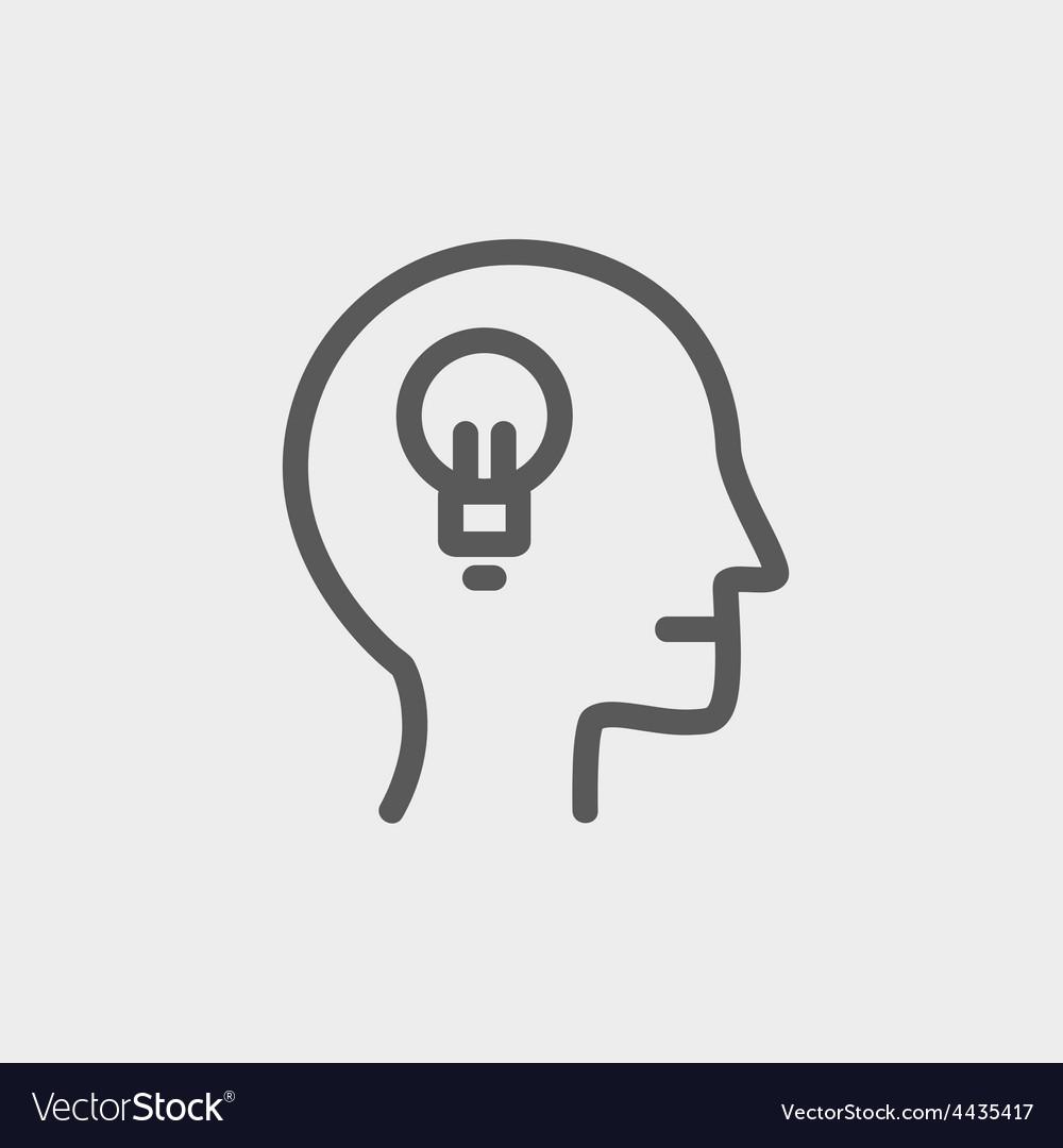 Human head with idea thin line icon vector | Price: 1 Credit (USD $1)