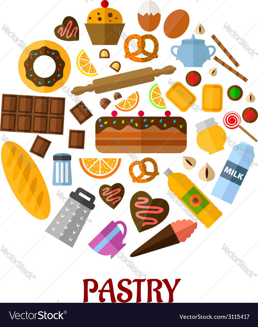 Pastry flat icons vector | Price: 1 Credit (USD $1)
