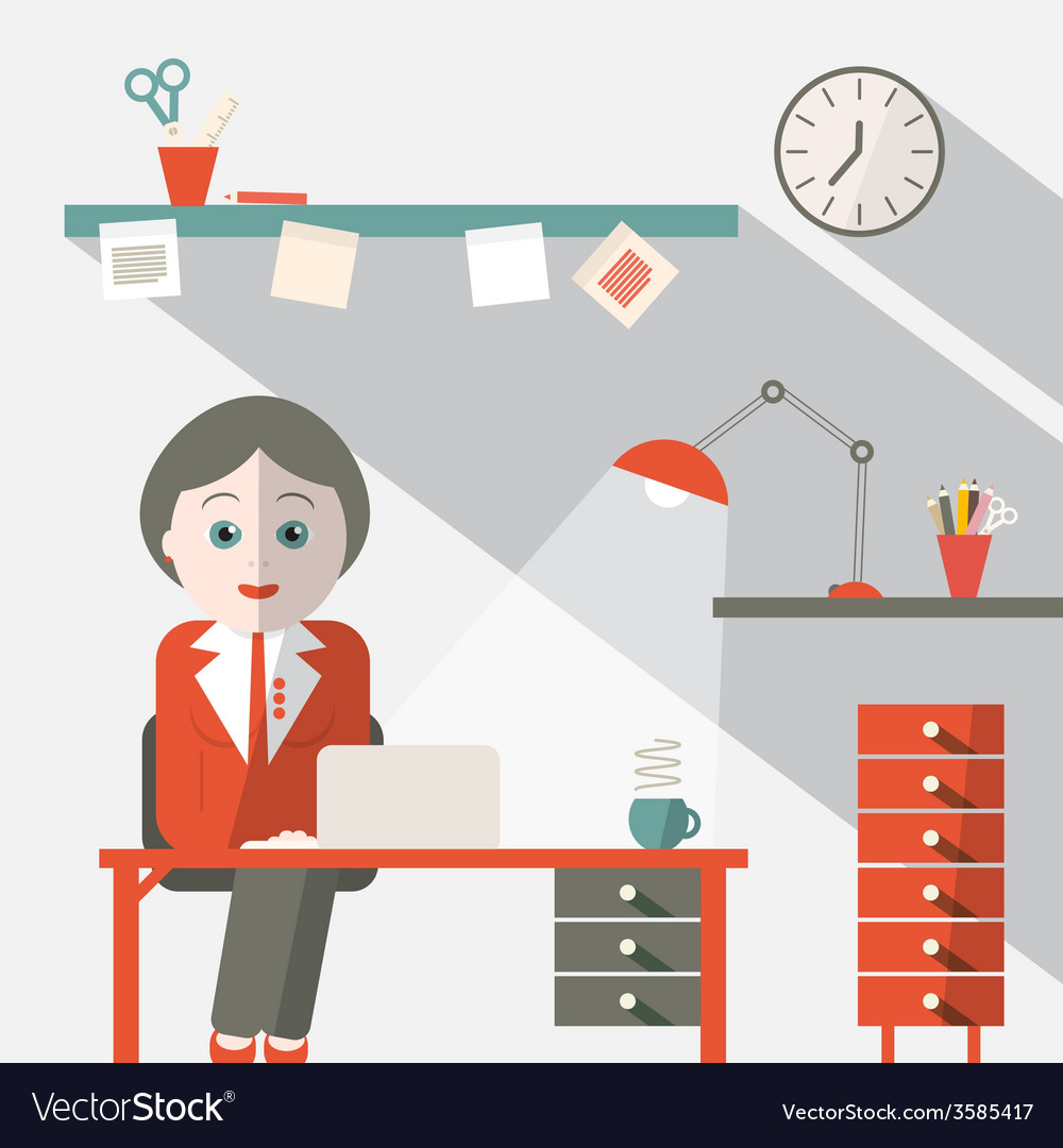 Secretary in office flat design vector | Price: 1 Credit (USD $1)