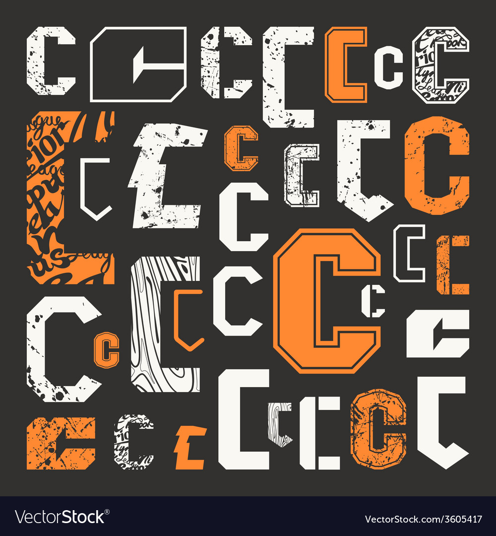 Set versions of letters c vector | Price: 1 Credit (USD $1)
