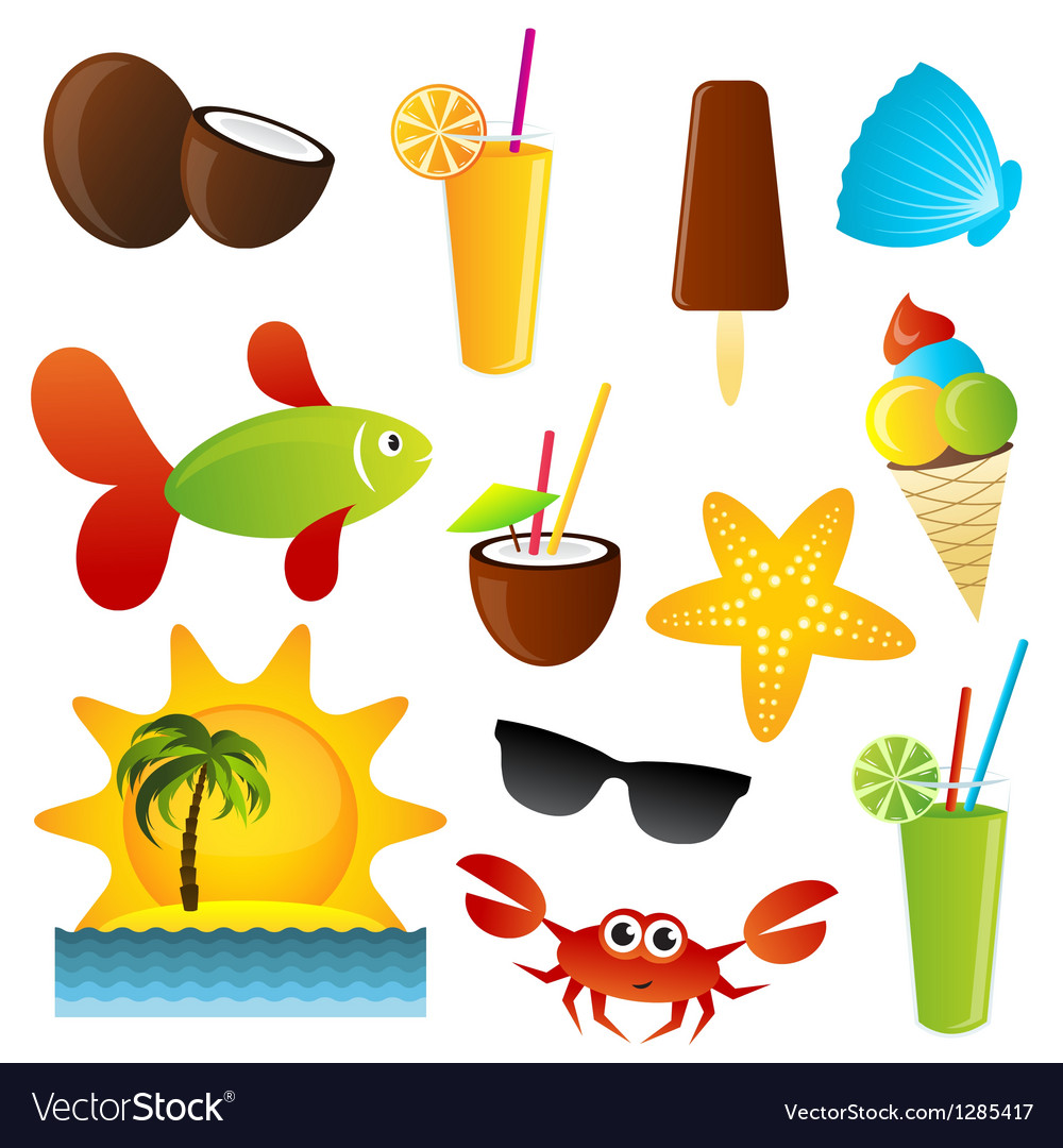 Summer icons set vector | Price: 1 Credit (USD $1)