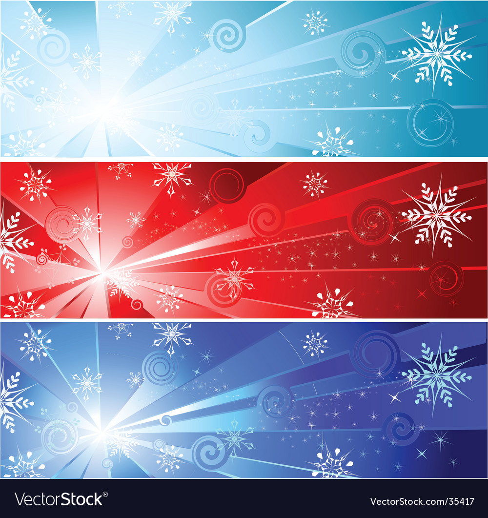 Three banner with a snowflake vector | Price: 1 Credit (USD $1)