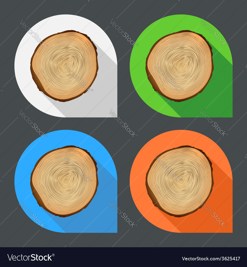 Tree growth rings flat icons vector | Price: 1 Credit (USD $1)