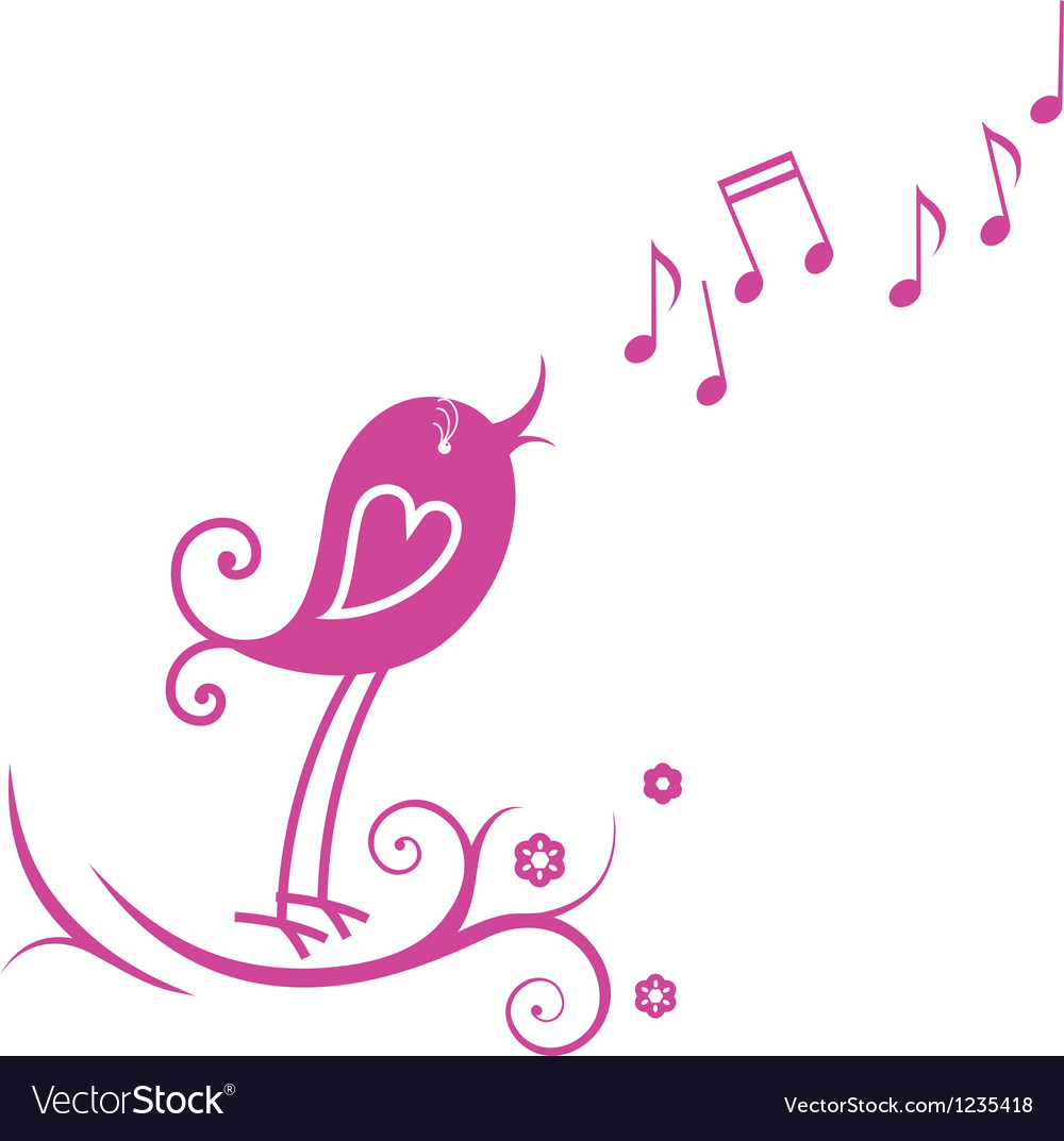 Bird and musical notes vector | Price: 1 Credit (USD $1)