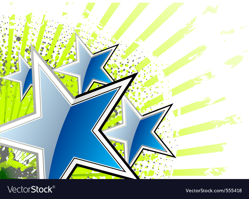 Blue stars on the green background vector | Price: 1 Credit (USD $1)