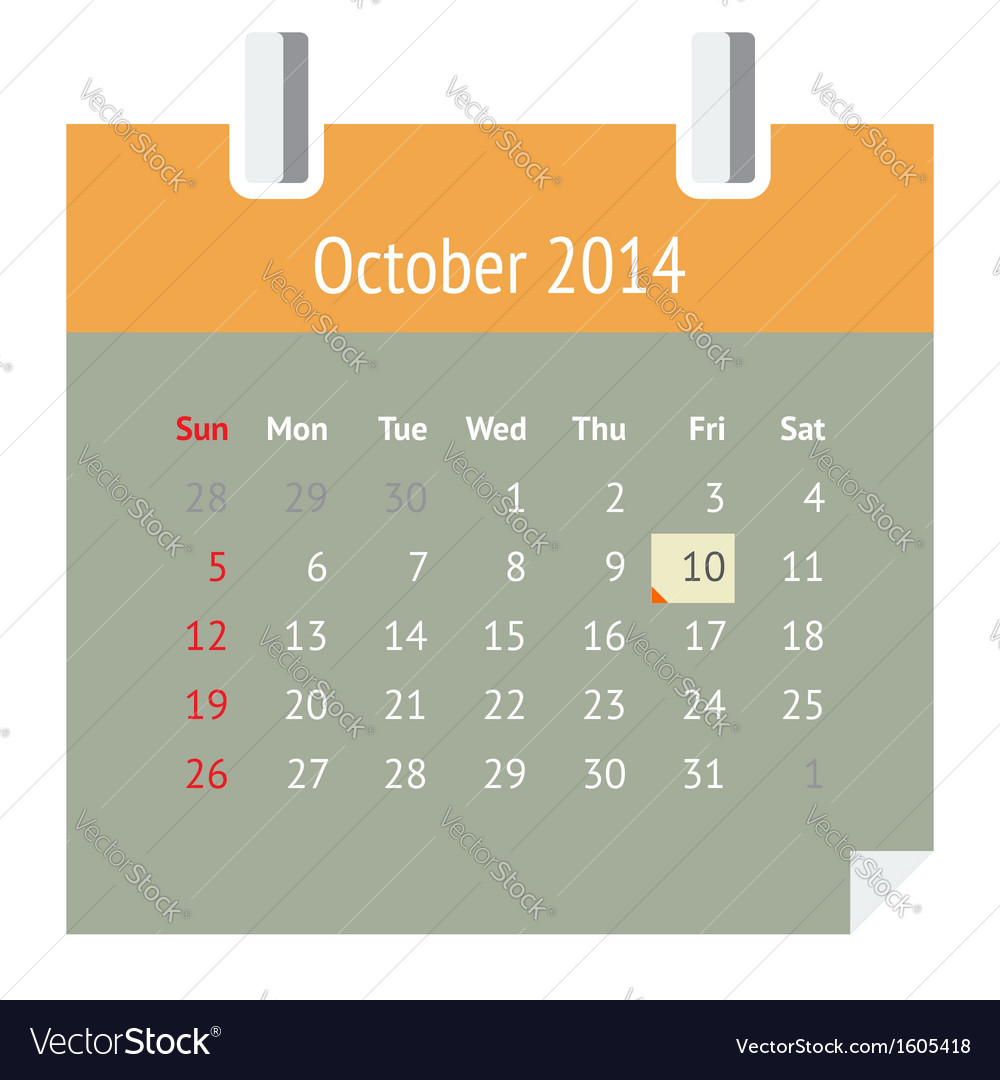 Calendar page for october 2014 vector | Price: 1 Credit (USD $1)