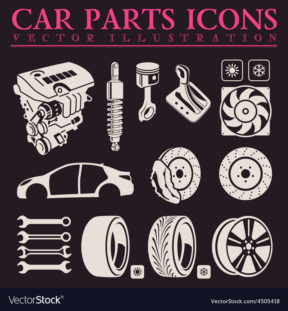 Car parts icons set auto service repair tool vector | Price: 1 Credit (USD $1)