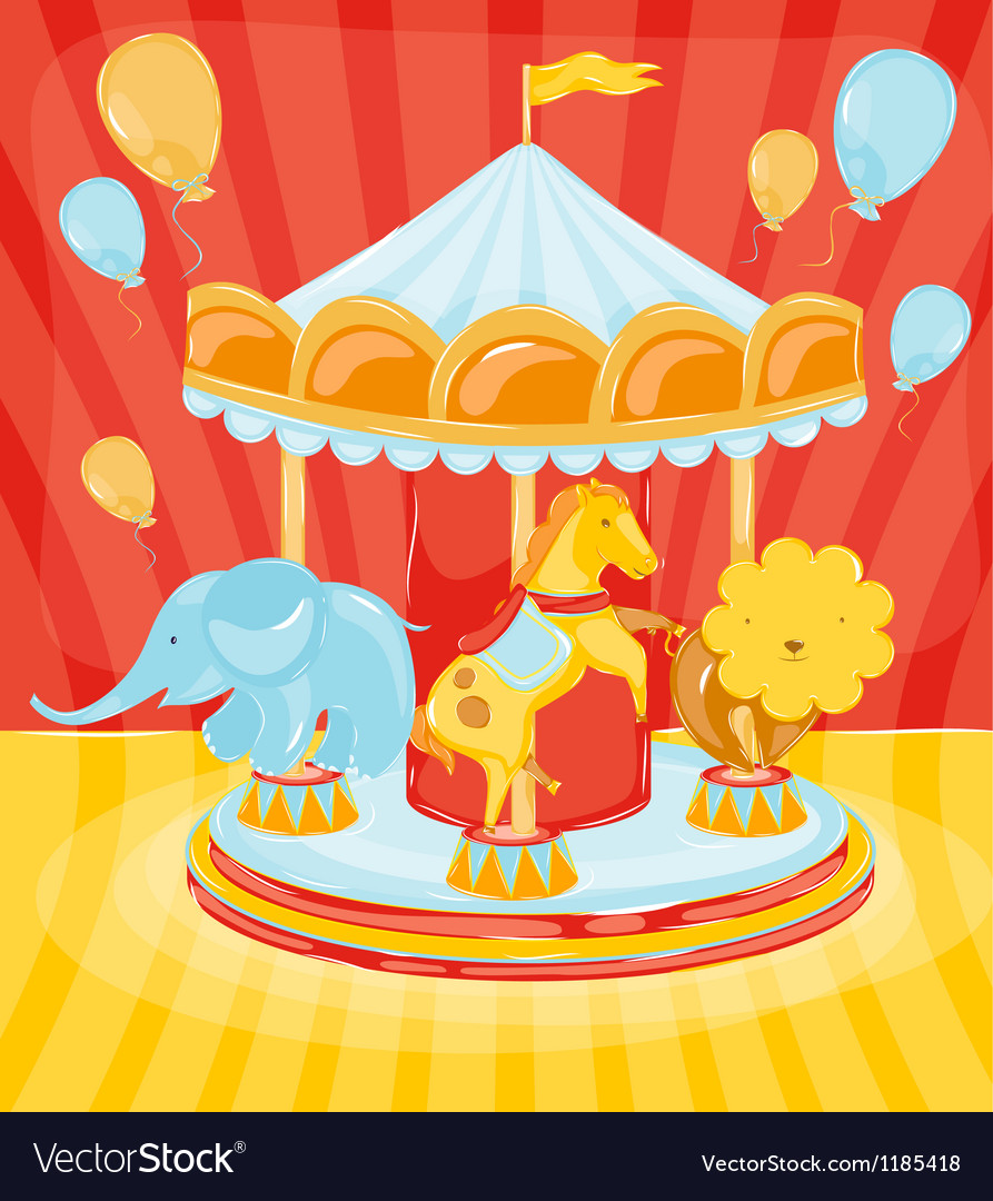 Circus carousel with animals vector | Price: 1 Credit (USD $1)