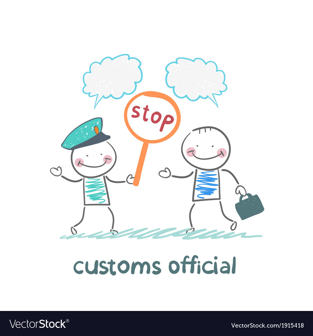 Customs officer holding a stop sign vector | Price: 1 Credit (USD $1)