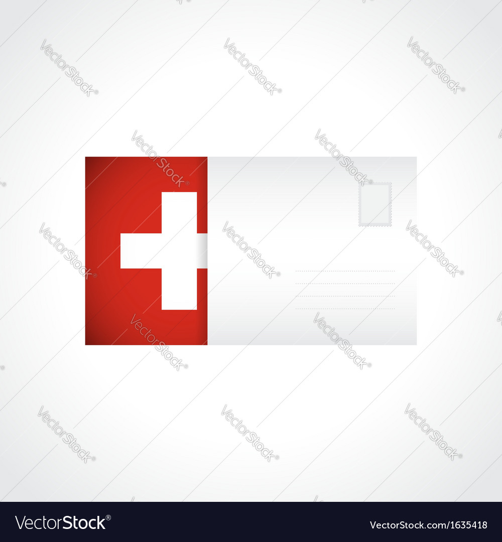 Envelope with swiss flag card vector | Price: 1 Credit (USD $1)